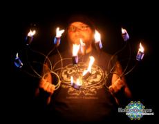 Hula hoops de fuego y flow